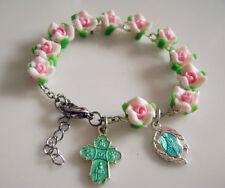 PINK ROSE Soft Cerami BEADS  Catholic cross Women Religion Gift Rosary bracelet
