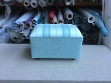 footstool / pouffe upholstered in Laura Ashley Highland check  Duck egg