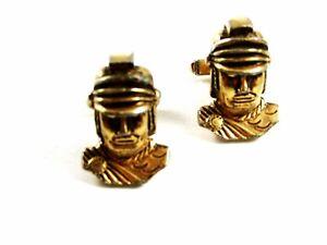 True Vintage Goldtone Roman / Greek Soldier Cufflinks By ANSON 102414