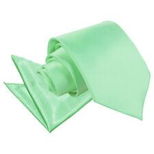 DQT Satin Plain Solid Mint Green Mens Classic Tie & Hanky Wedding Set