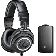 Audio-Technica ATH-M50X Pro Studio Black Headphones & Fiio A3 Amp Bundle Black