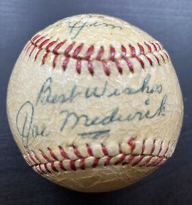 Joe Ducky Medwick Auto Autograph Baseball St Louis Cardinals 1937 Triple Crown