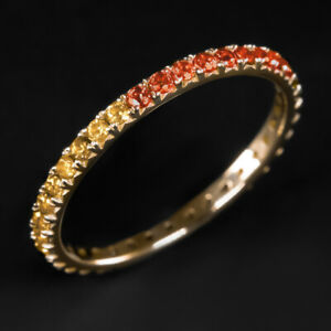 14K GOLD NATURAL RED ORANGE YELLOW SAPPHIRE STACKING RING OMBRE ETERNITY BAND