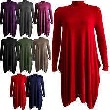 Ladies Polo Turtle Neck Hanky Hem Swing Dress Oversized Lagenlook Baggy Loose