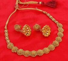 1872 Ethnic Indian Jewelry Necklace Earrings Bollywood Gold Plated Polki Bridal