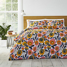 Marimekko Rosarium 3 piece Comforter Set, Full / Queen, Pink Gold Flowers NEW