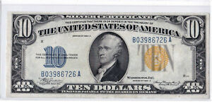 1934A $10 NORTH AFRICA Silver Certificate WWII Emergency Issue Yellow FR-2309