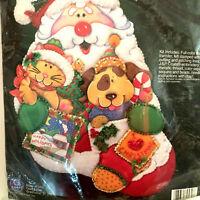 J & P Coats Felt Appliqué Stocking Kit 28134 Santa's Pals Christmas Holiday 1998