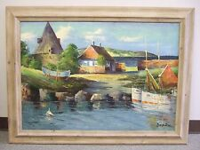 """Scene from Bornholm"" old oil on canvas by Ingolf Due Olufsen, Danish"