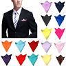 Men Silk Satin Pocket Square Hankerchief Plain Solid Color Wedding Party Hanky