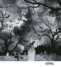 Spooky Graveyard Bats Crow cotton fabric BTY Timeless Treasures Halloween