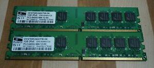 2 ProMOS 1GB 2Rx8 Memory Card V916765K24QCFW-G6  PC2-6400U-666-12-EO 800MHz DDR2