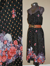 Vtg 1970s Abstract Dark Floral Gypsy Handkerchief Boho Midi Dress Sz S/M