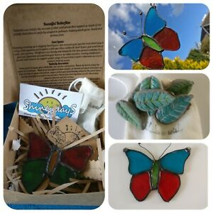 Butterfly Stained Glass Suncatcher, Seed bombs,  Gift Handmade Gift