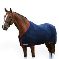 NEW  THERMATEX  ORIGINAL RUG. Size 6'0 navy with cambridge (light) blue binding