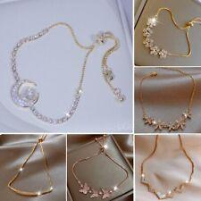 Fashion 925 Silver Zircon Crystal Moon Flower Butterfly Bracelet Bangle Women