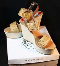 Steve Madden Wedge Heel Shoe Engel Cognac 10M Braid Woven Platform NEW in Box