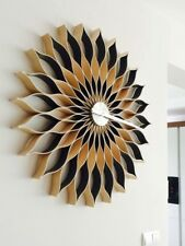 Wall clock, 89 cm ,large, modern,  handmade   natural wood ,