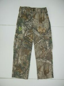 REALTREE Brown/Green Cotton CAMO HUNTING PANTS Hiking Fishing Gear Kid YOUTH M