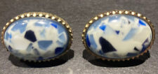Blue And White Confetti Stones Vintage Dante Signed Gold-Tone Cufflinks With
