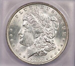 1892-P 1892 Morgan Silver Dollar S$1 ICG MS64