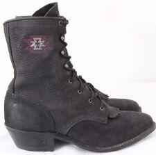 Abilene Pointed Toe Roper Kiltie Western Cowboy Lacer Boots Women's US 7.5M