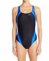 Speedo Womens Swimwear Black Blue 4 Quantum Splice Powerflex Swimsuit $78- 020