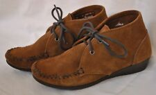 Women's Minnetonka Suede Wedge Chukka Bootie Size 6 Brown Suede