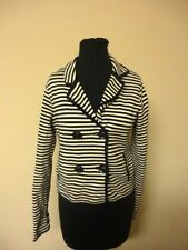 PHILIPPE ADEC Blue White Striped Cotton Double Breasted Blazer Jacket Sm HH1091