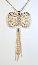 BETSEY JOHNSON PEARL BEAD CRYSTAL BOW BUTTERFLY FANCY GOLD TONE PENDANT