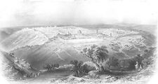 JERUSALEM FROM MOUNT OF OLIVES ZION MOSQUE OF OMAR ~ 1850 Art Print Engraving