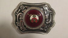 Vintage new old stock Silver & black  Belt Buckle w/39mm SHRINER emblem dark red