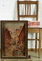 Unles. Sign Oil Painting Antique? Expressive Florence Row of Houses City Firenze