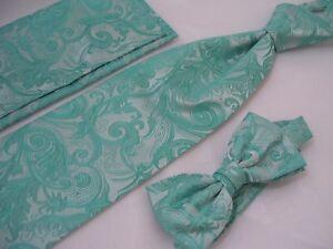 Men's Vintage Turquoise Blue Tie Bow Tie & Kerchief 3 Piece Set Swirl Pattern