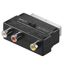 TV SCART Adapter AV 3x Cinch Chinch Audio Video in out Schalter Scartadpater