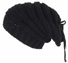 19469aedce5 Lilax Cable Knit Slouchy Chunky Stripe Oversized Warm Winter Beanie Hat  Black