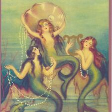 Chiostri Mermaids Playing With Sea Shell;Pearls,Large Blank Greeting Art Card