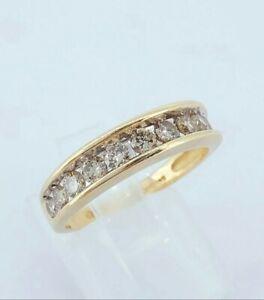 Beautiful 9ct Gold & 0.50ct Champagne Diamond Half Eternity Engagement Ring UK L