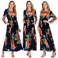Fashion Abaya Women Floral Long Sleeve Maxi Dress Party Boho Cocktail Gown Islam