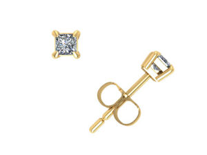 0.15Ct Princess Cut Diamond Solitaire Stud Earrings 14k Yellow Gold Prong G SI1