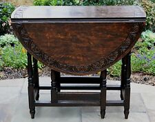 Antique English Dark Oak CARVED TOP Drop Leaf Gate Leg Sofa Lamp End Table OVAL