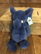 "Jellycat Plush Medium Bashful Blue Elephant Super Soft Stuffed Animal London 10"""