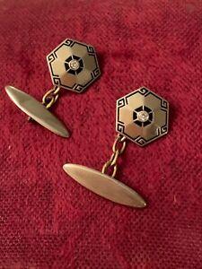Antique Art Deco Platinum And 18K Gold Diamond Enamel Cuff Links