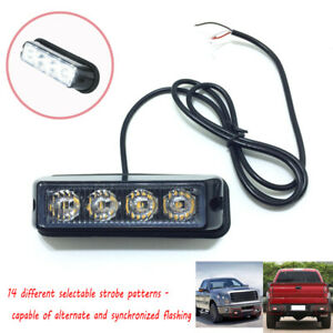 White 4 LED Grille Deck Mounted Vehicle Side Marker Warning Strobe Light Pod USA
