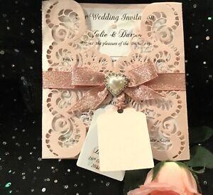 WEDDING INVITATION VINTAGE  PINK BLUSH BOHO & WHITE LINEN CARD  LASER CUT