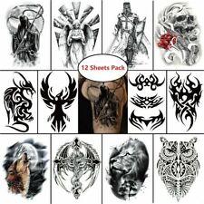 12 pcs Eagle Skull Reaper Dragon Temporary Waterproof Tattoo Stickers Body Art