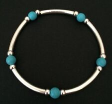 Sterling Silver And Turquoise Beaded Noodle Tube Stretch Bracelet. Silver Beaded