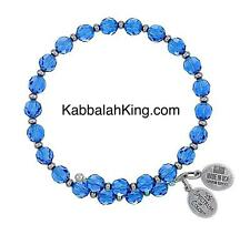 Wind & Fire 6mm Capri Blue Crystal With Spacer Bead Stackable Bangle Bracelet