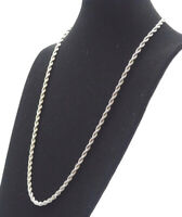 Old Vintage Silver Tone Retro Fashion Twisted Chain 29 Inch Necklace