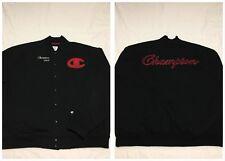MINT Champion Black Red Big Script Logo Cotton Varsity Jacket Mens 3XL Vtg 90s